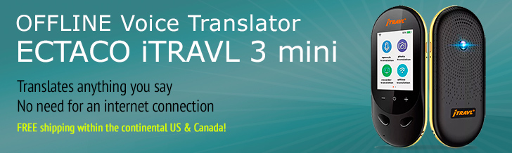 Ectaco iTRAVL3 8-Language Speech to Speech Offline Translator