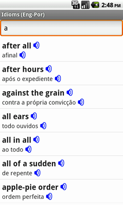 English-Portuguese Talking Idioms for Android