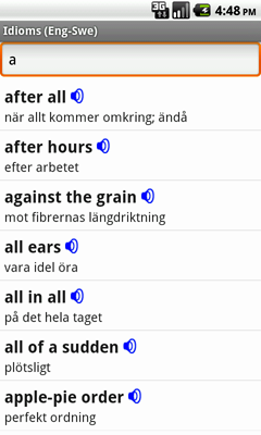 English-Swedish Talking Idioms for Android