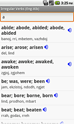Ectaco English-Albanian Irregular Voice Verbs for Android
