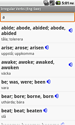 Ectaco English-Swedish Irregular Voice Verbs for Android