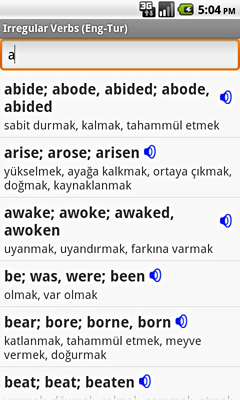 Ectaco English-Turkish Irregular Voice Verbs for Android