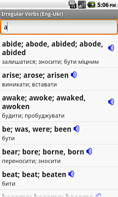 Ectaco English-Ukrainian Irregular Voice Verbs for Android