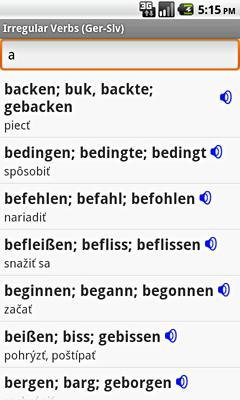 Ectaco Deutsch <-> Slowakisch Vertonte Unregelmäßige Verben für Android