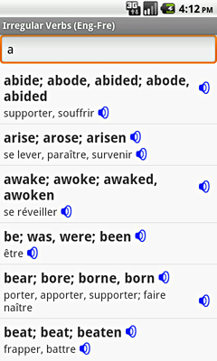 Ectaco English-French Irregular Voice Verbs for Android