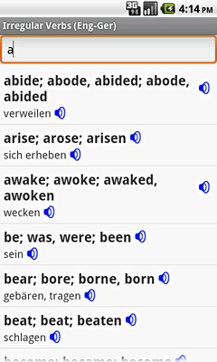 Ectaco English-German Irregular Voice Verbs for Android