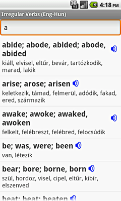 Ectaco English-Hungarian Irregular Voice Verbs for Android