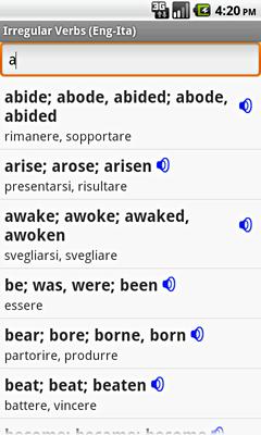Ectaco Englisch <-> Italienisch Vertonte Unregelmäßige Verben für Android